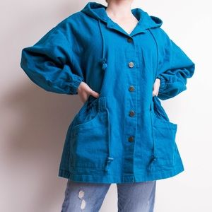 Vintage 80s teal blue hooded button down jacket